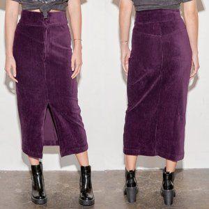Free People Roxy Velvet Rib Pencil Skirt NWT